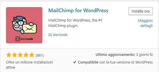 Mailchimp plugin per wordpress