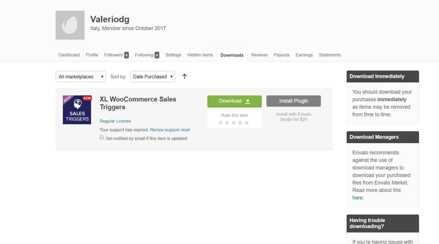 La pagina downloads di themeforest