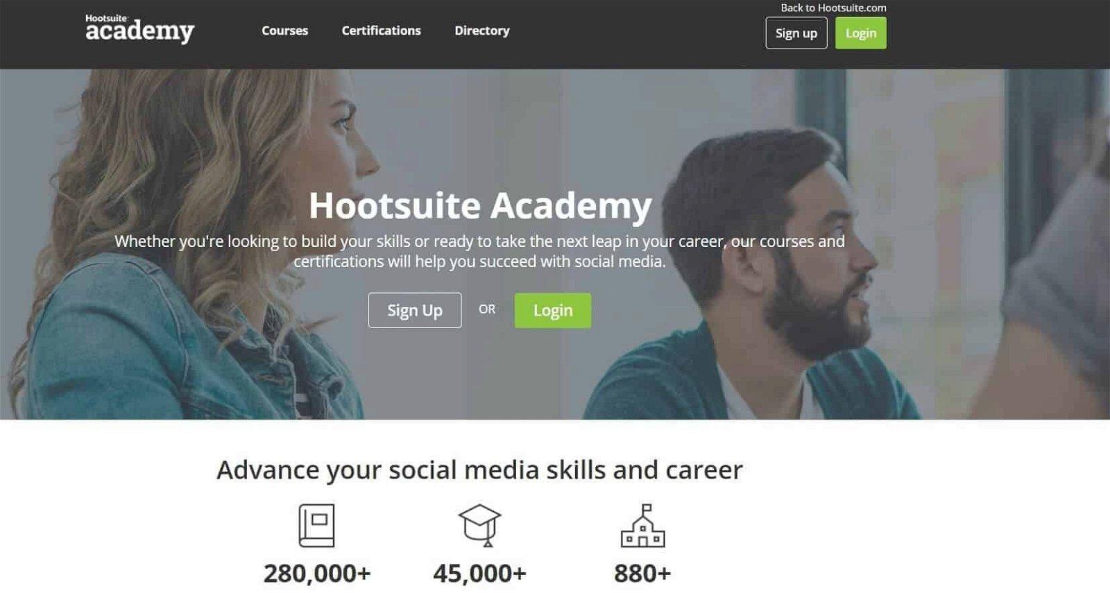 la homepage di hootsuite academy