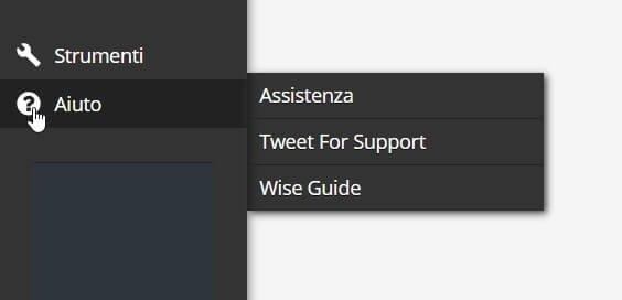Dal menu di aiuto possiamo chiedere supporto in varie modalità