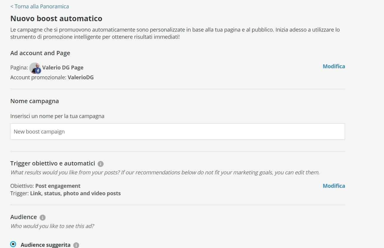 Screen della configurazione del boost automatico di hootsuite