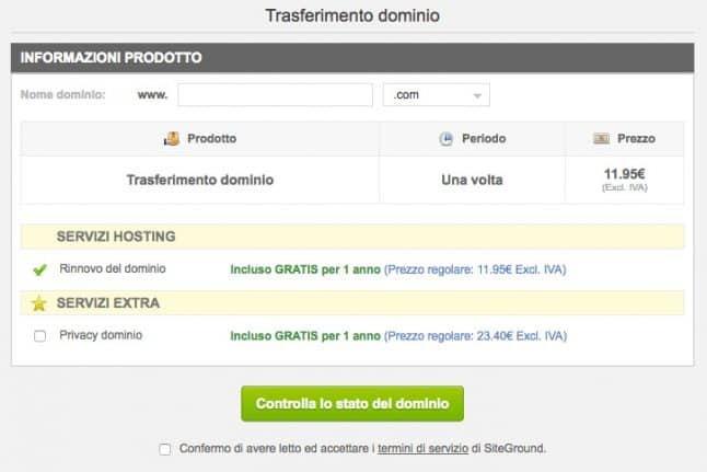 trasferimento sito web su siteground