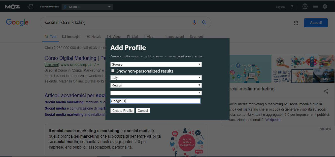 creazione profilo Google IT Moz