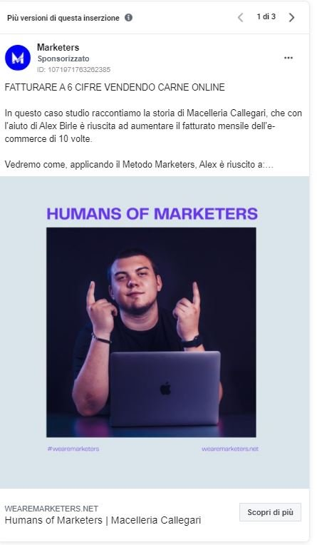 Facebook ads macelleria callegari