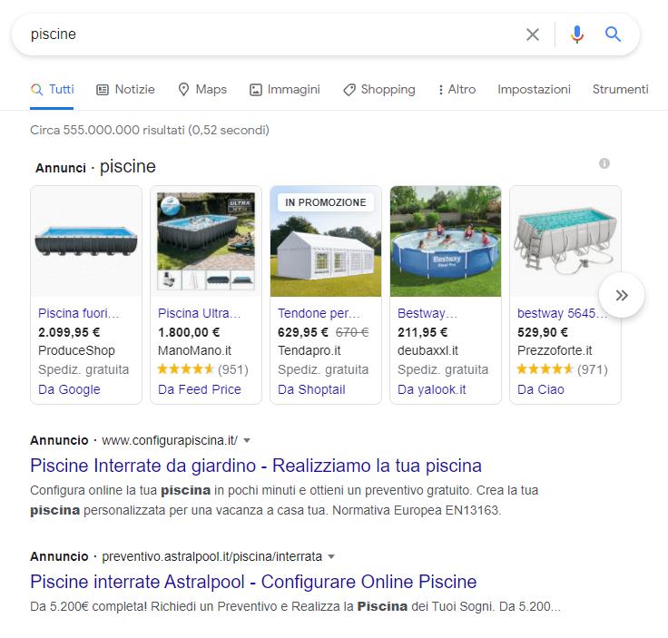 Google Ads shopping con Value