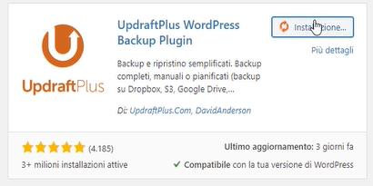 plugin per il backup updraftplus