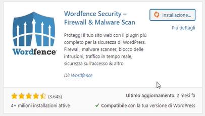 plugin per la sicurezza WordFence