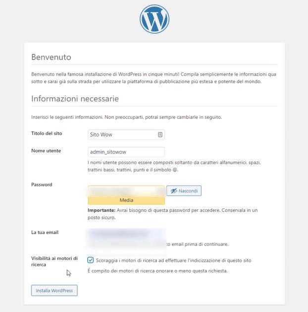 benvenuto in WordPress