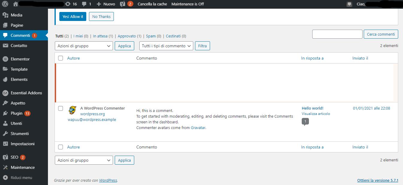sezione commenti in WordPress