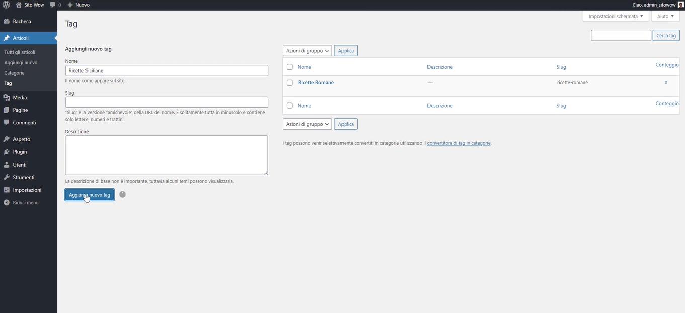 creare i tag per gli articoli in WordPress