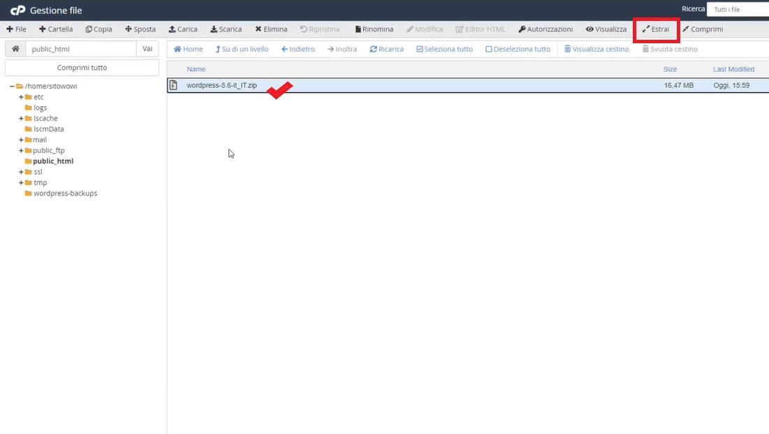 estrazione file dalla cartella compressa WordPress