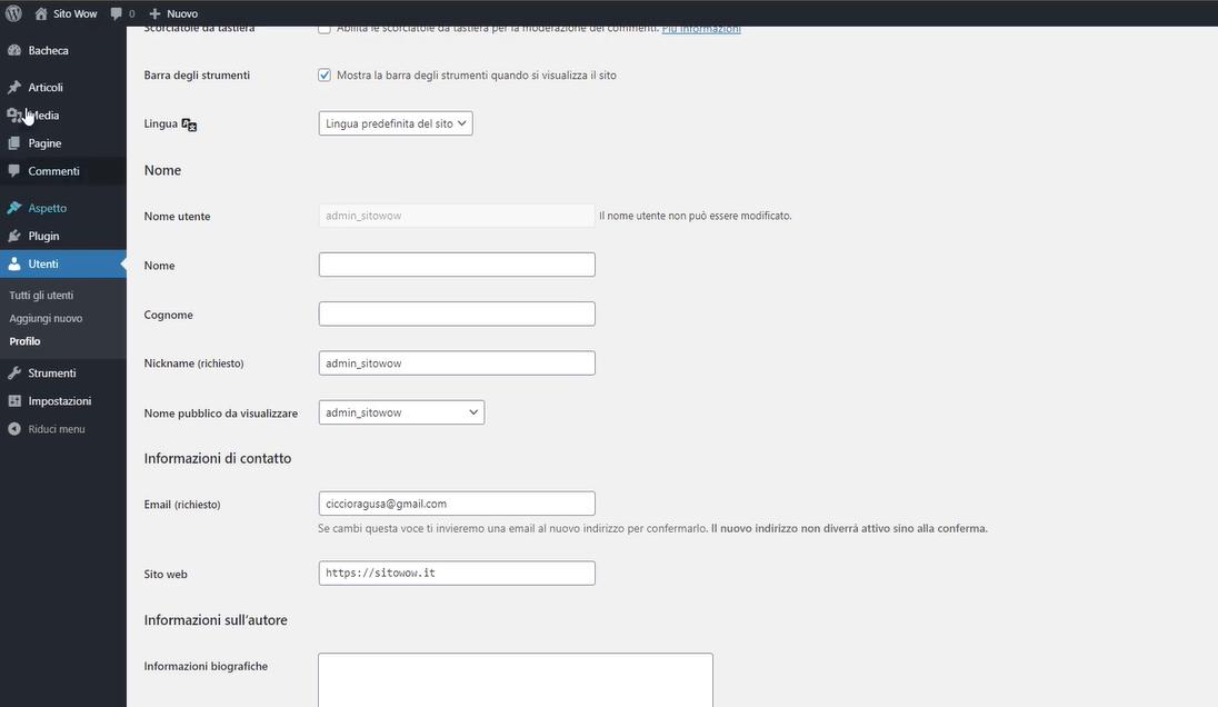impostare un nuovo profilo utente
