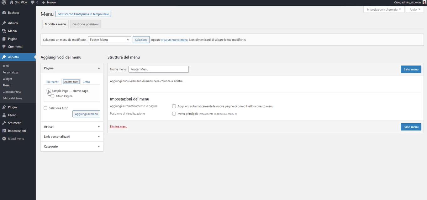 modifica e aggiungi nuovo menu in WordPress