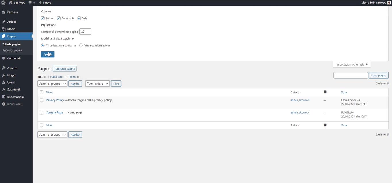creare nuova pagina nel tuo sito WordPress