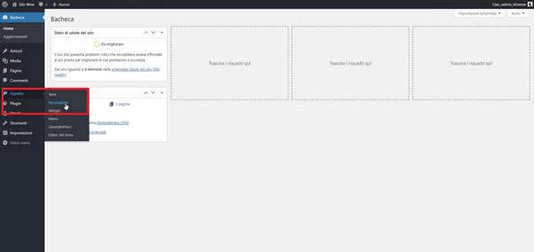 strumento personalizza in WordPress