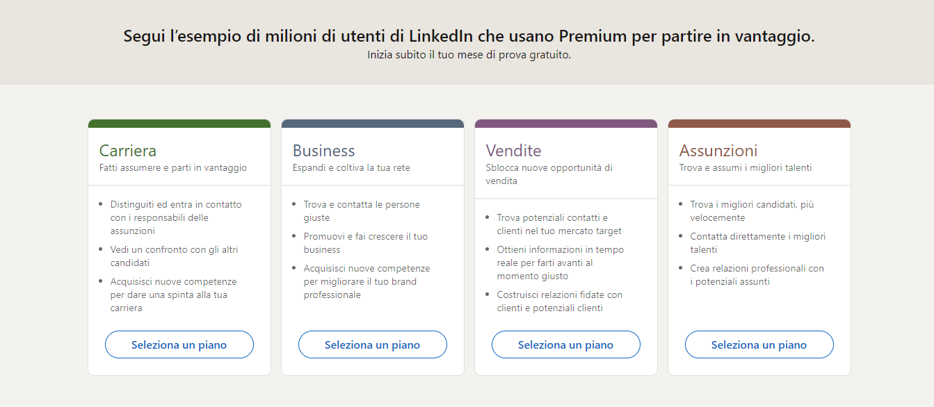 piani di LinkedIn premium