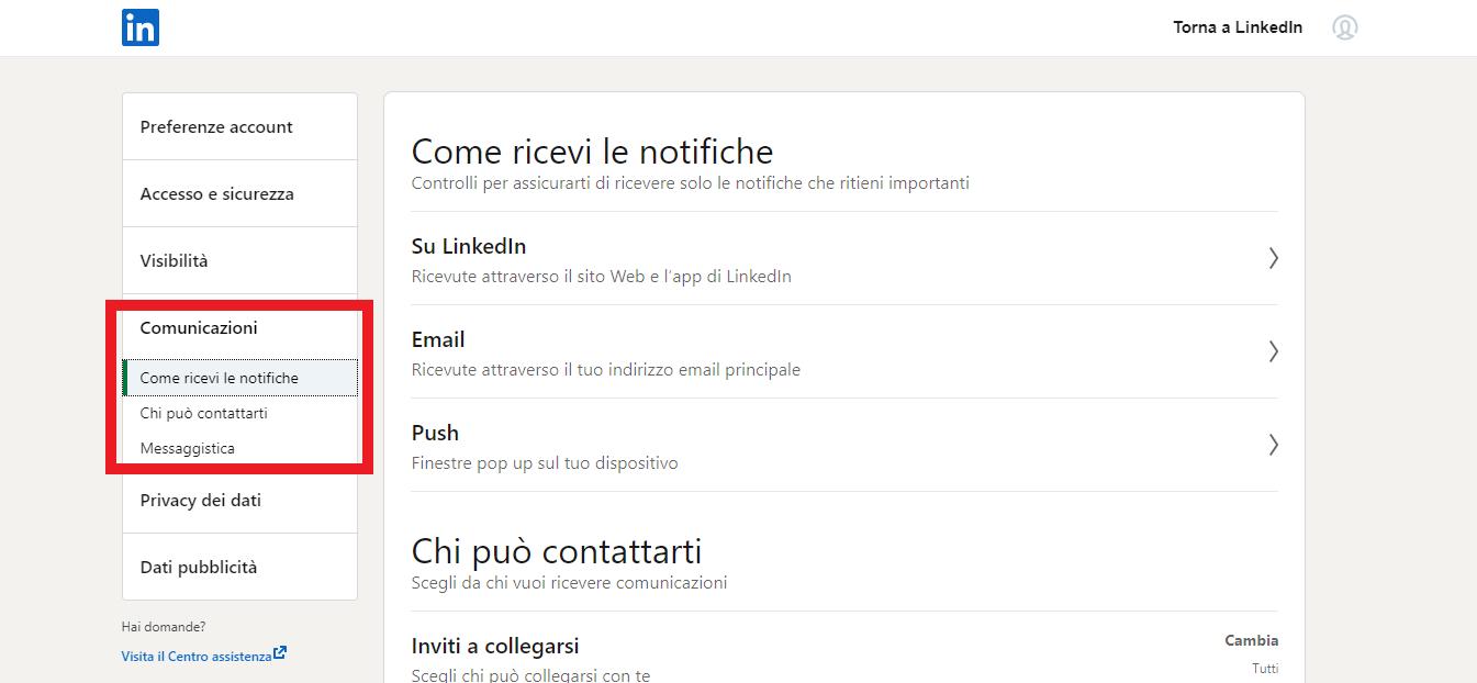 come ricevere le comunicazioni da parte di LinkedIn