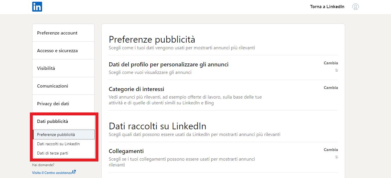 impostare i dati pubblicità su LinkedIn