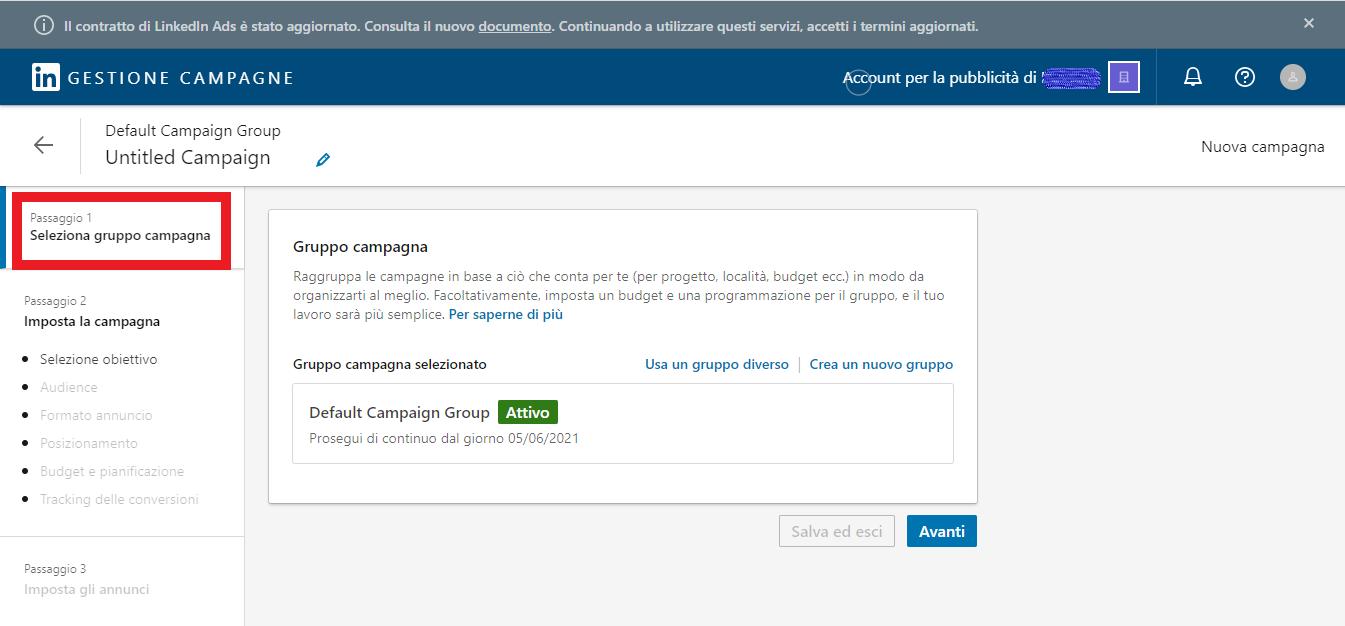 gruppo di campagne LinkedIn