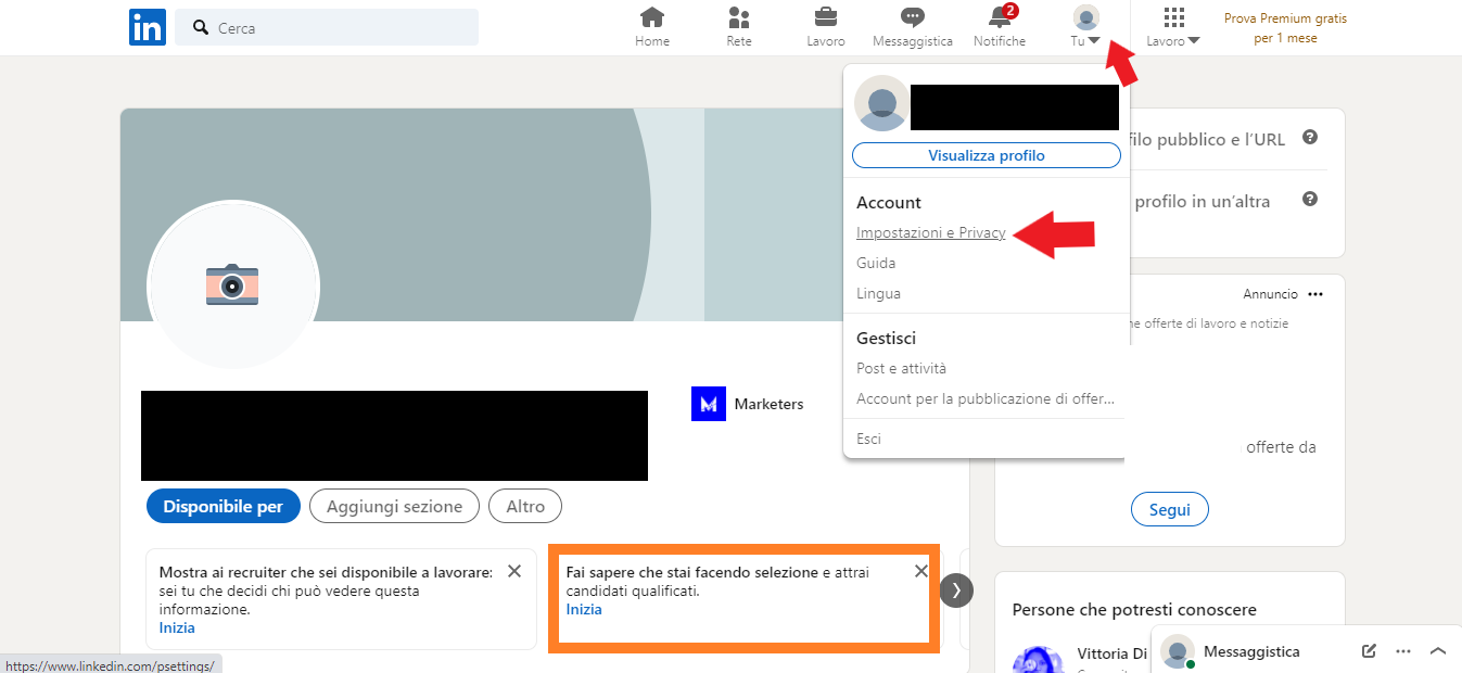 impostazioni e privacy del tuo profilo