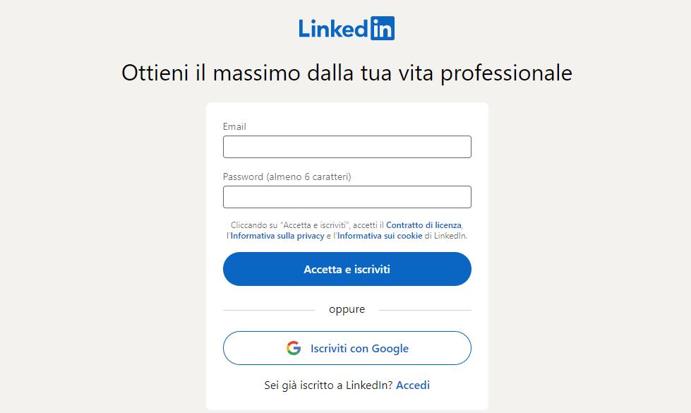 registrazione LinkedIn