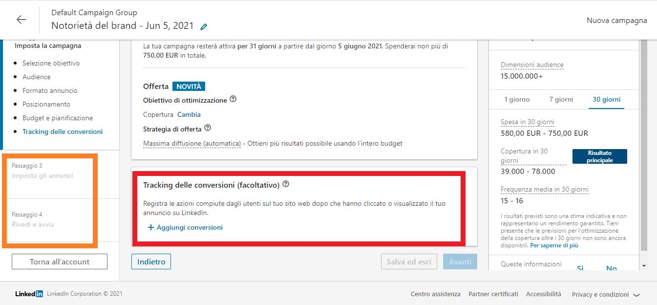 attivare il tracking delle conversioni LinkedIn