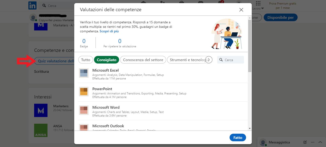 quiz valutazione competenze LinkedIn