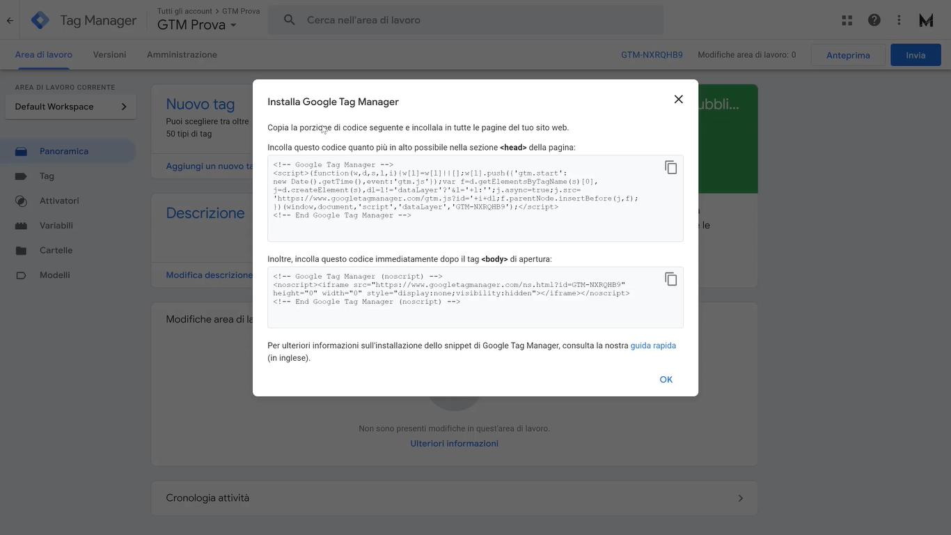 codice google tag manager