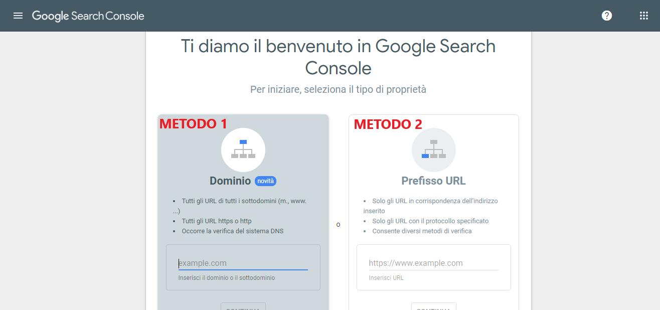 piattaforma Google search console