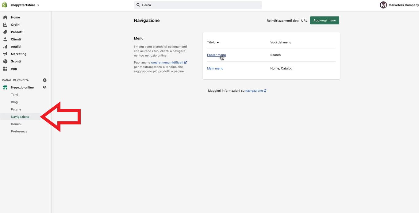 menu navigazione shopify