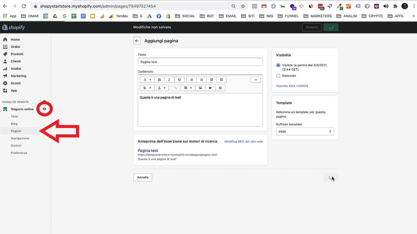 creare pagine prodotto shopify