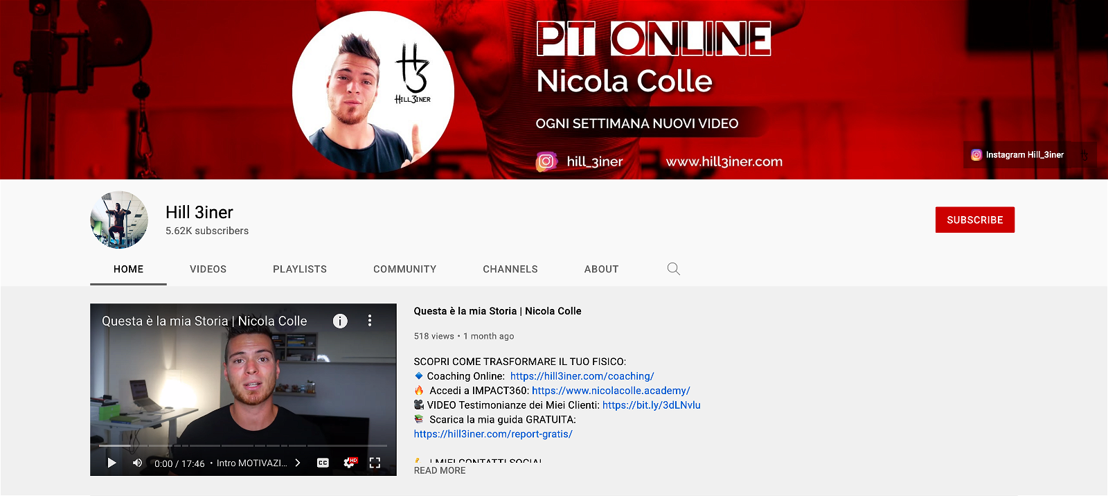 hill3iner personal trainer online canale youtube