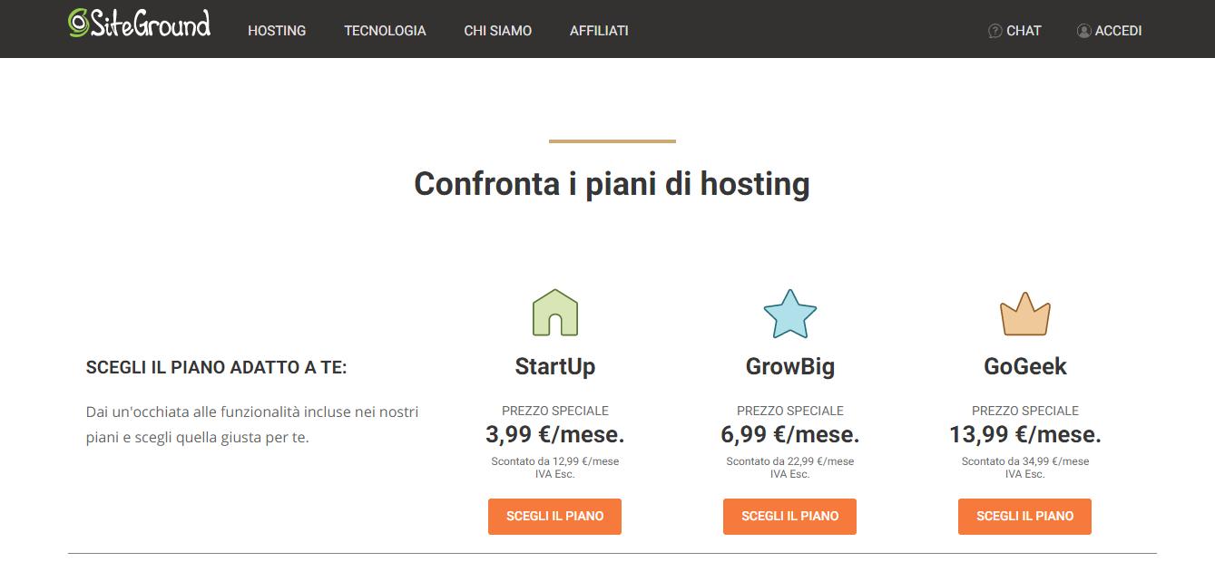piani hosting di siteground