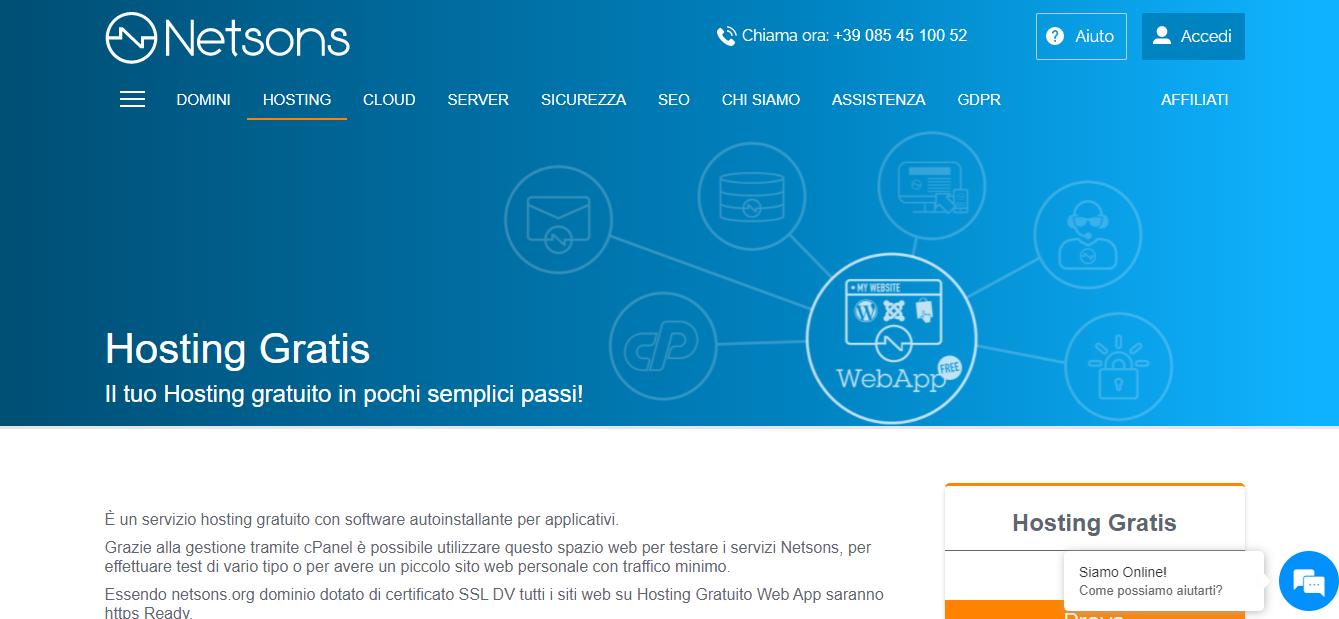 netsons hosting gratuito