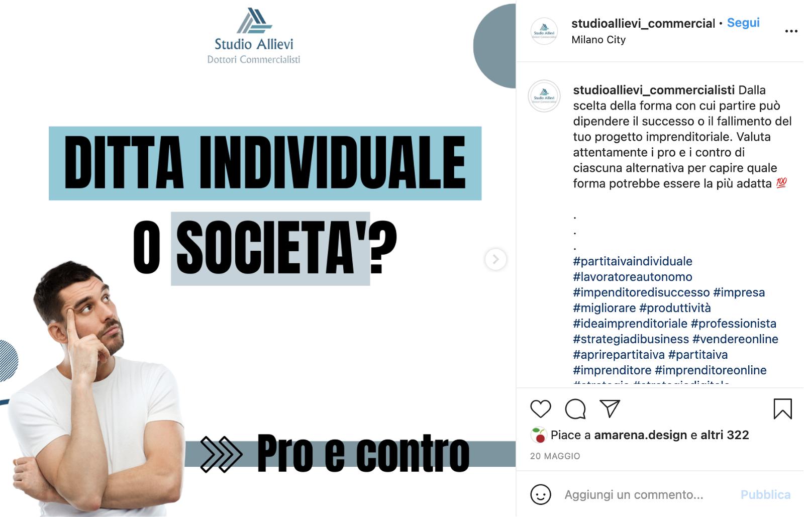 allievi esempio post instagram