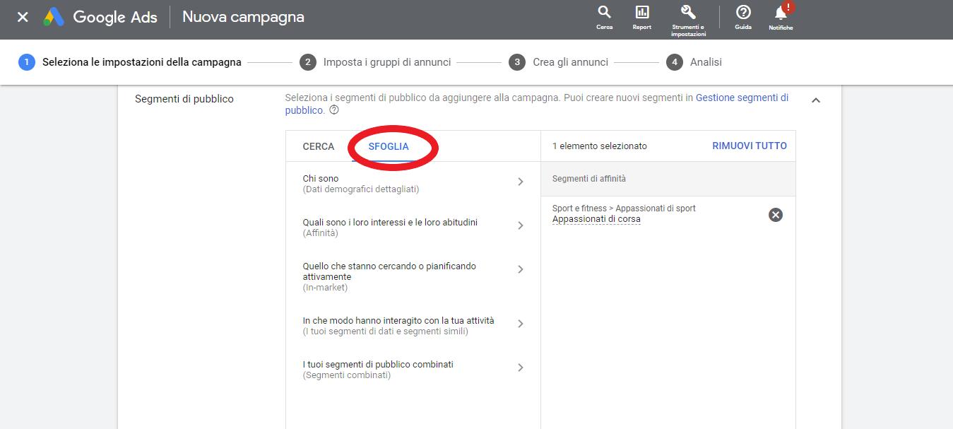 impostare le caratteristiche target nelle campagne search di google ads