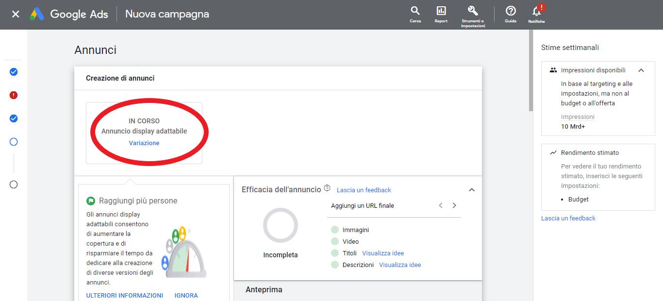 annuncio display adattabile google ads