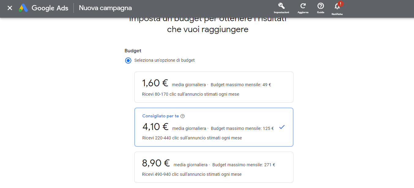 impostare budget campagna intelligente google ads