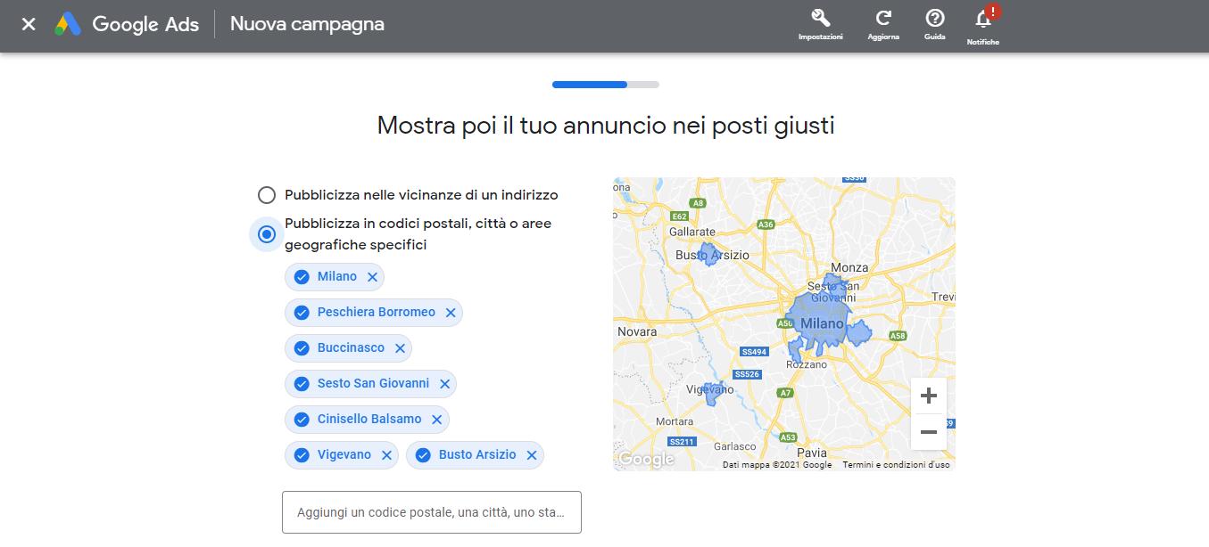 scegliete luoghi della campagna intelligente google ads